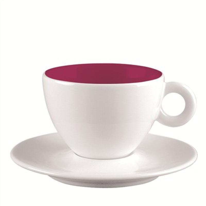 Espresso-Tasse und Untersetzer weiss/ himbeere