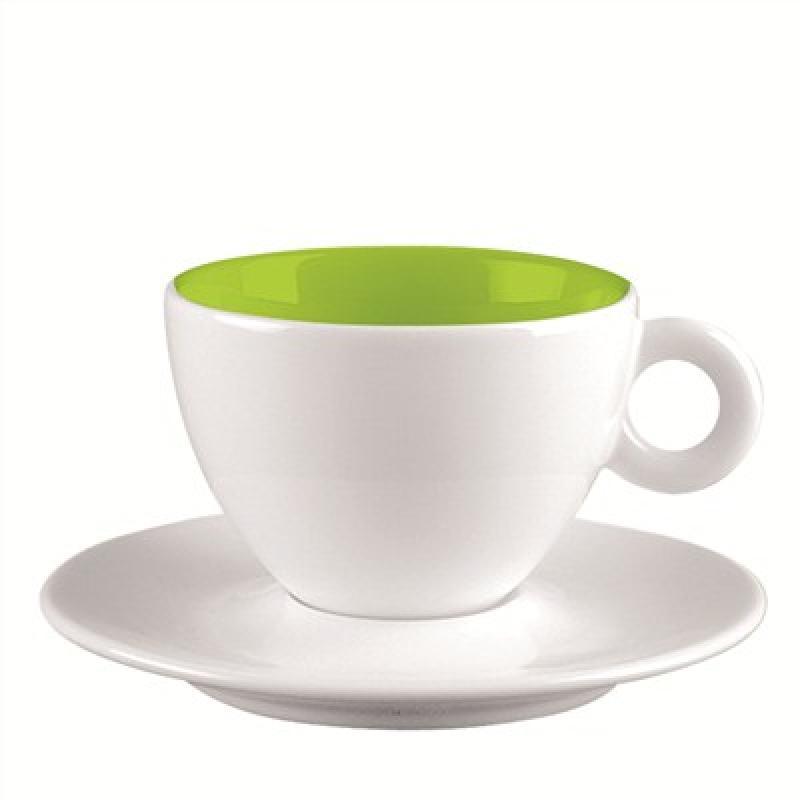 Espresso-Tasse und Untersetzer weiss/ grün
