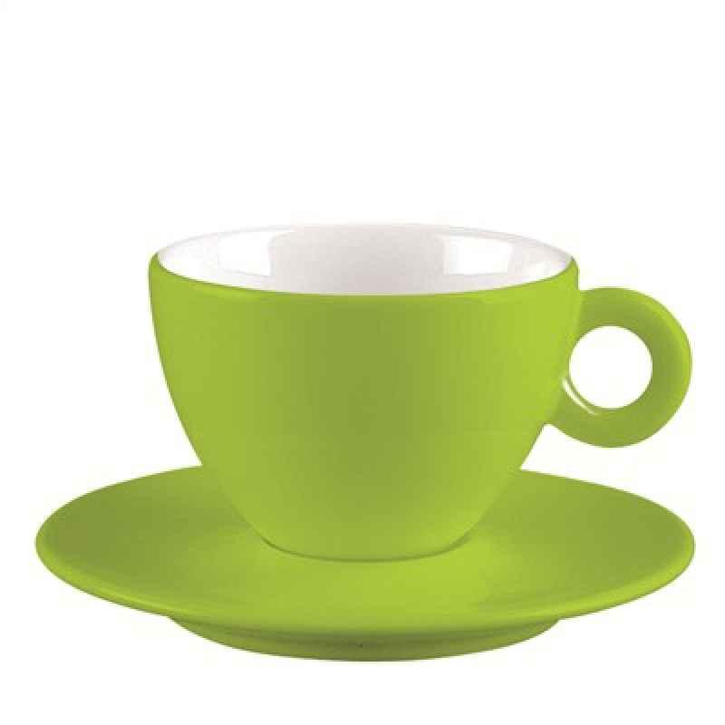 Espresso-Tasse und Untersetzer grün/ weiss