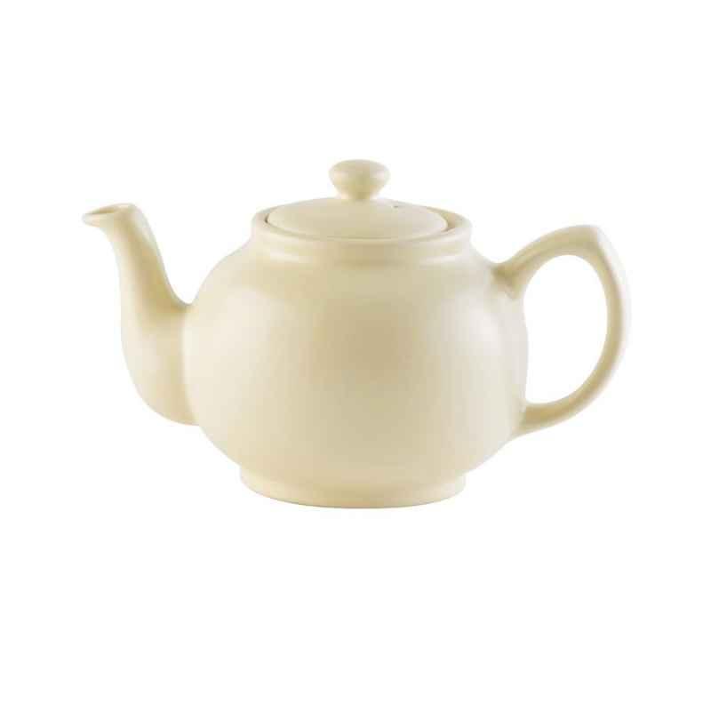 Teekanne 1100 ml Steingut, matt creme, für 6 Tassen