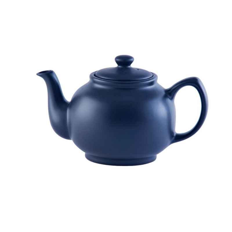 Teekanne 1100 ml Steingut matt blau, für 6 Tassen