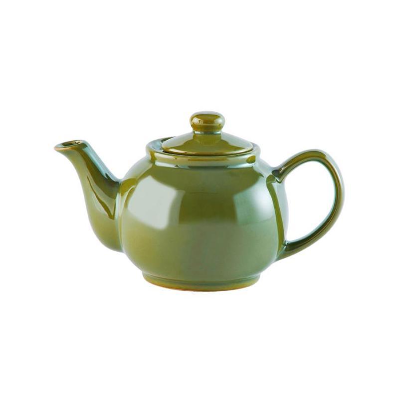 Teekanne 450 ml Steingut glänzend olivegrün, für 2 Tassen