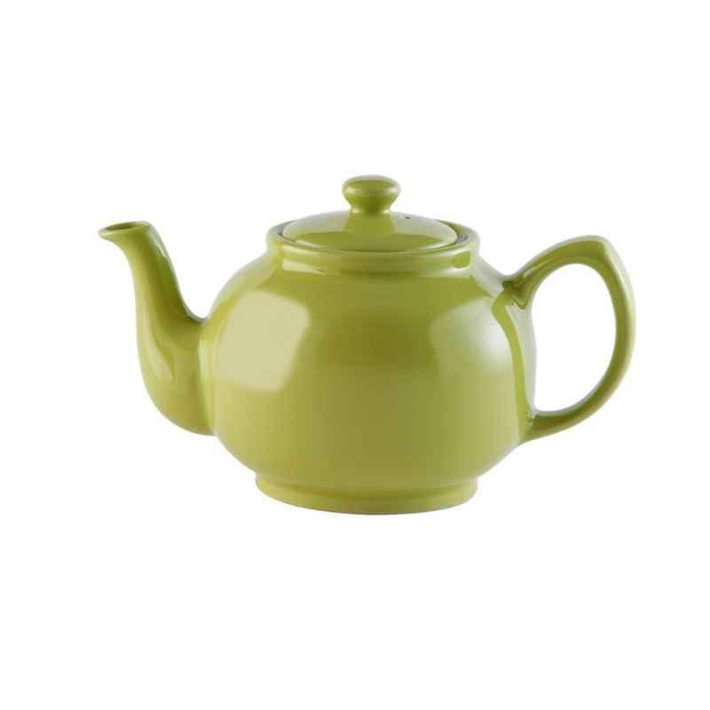 Teekanne 1100 ml Steingut glänzend grün, für 6 Tassen