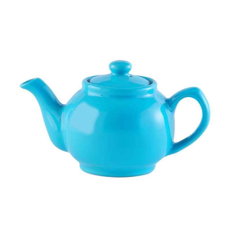 Teekanne 1100 ml Steingut glänzend blau, für 6 Tassen