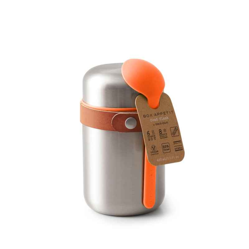 Food Flask - Orange, 400 ml, Edelstahl/Vegan Leder, Maße: 8,5 x 8,5 x 16 cm